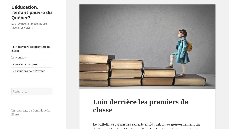 L'éducation, l'enfant pauvre du Québec? – La province fait piètre figure face à ses voisins 2016-07-20 09-22-47